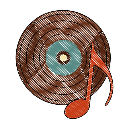 vinyl disk with music note retro vector illustration design