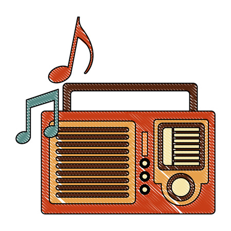 radio with music notes retro style vector illustration design