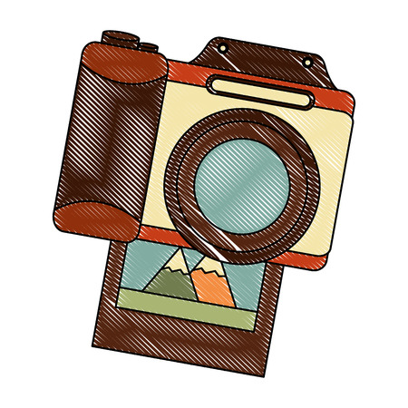 retro camera with picture photographic icon vector illustration design