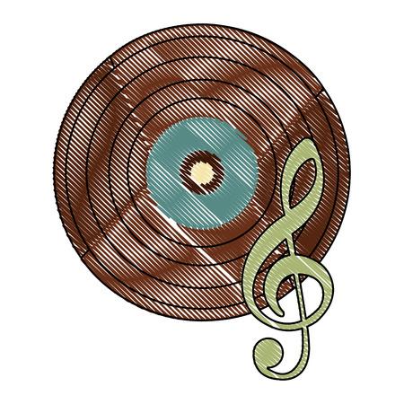 vinyl disk with music note retro vector illustration design