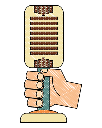 hand with microphone music retro style vector illustration design