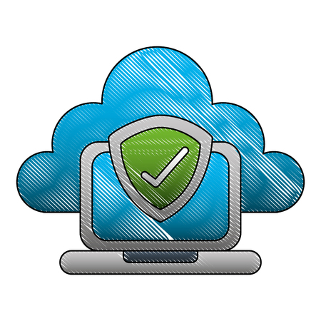 cloud computing with laptop and shield isolated icon vector illustration design