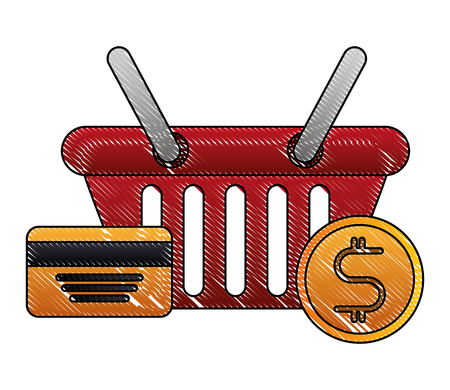 shopping basket with credit card and money coins isolated icon vector illustration design