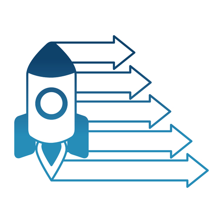 rocket with arrows growth isolated icons vector illustration design