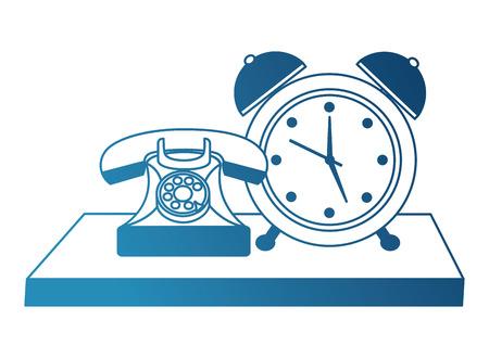 Teléfono retro con diseño de ilustración de vector de estilo vintage de despertador Foto de archivo - 102102038