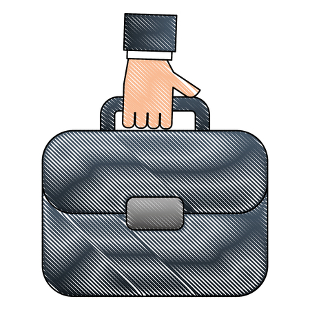 hand with portfolio briefcase isolated icon vector illustration design  イラスト・ベクター素材
