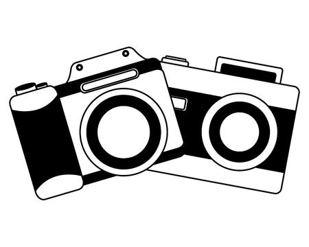 vintage photography camera retro device vector illustration black and white Archivio Fotografico - 102119590