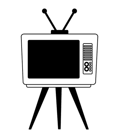 vintage retro television device on table vector illustration black and white