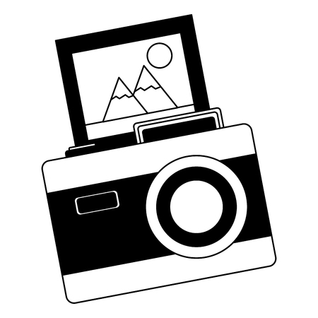vintage photography camera photo image retro vector illustration black and white Stock Illustratie
