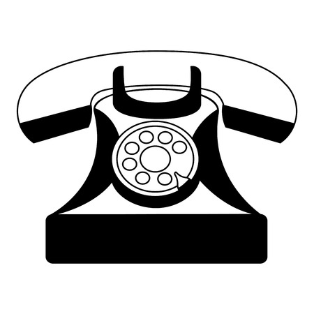 vintage telephone device communication retro vector illustration black and white