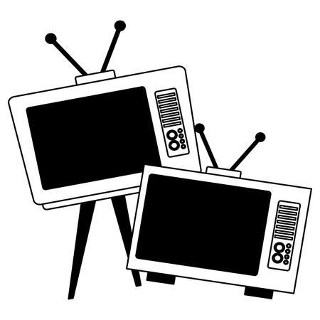 retro television vintage device image vector illustration black and white Ilustrace