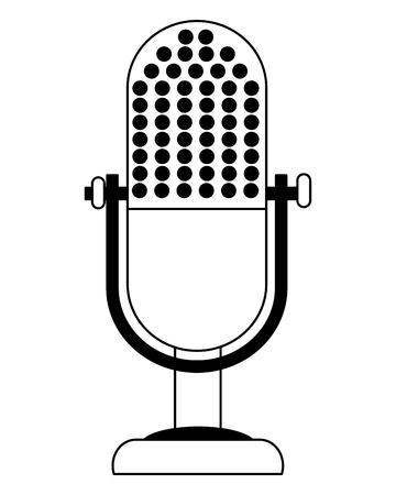 retro vintage microphone equipment classic vector illustration black and white Çizim