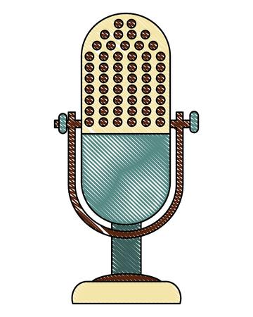 microphone music retro style vector illustration design  イラスト・ベクター素材
