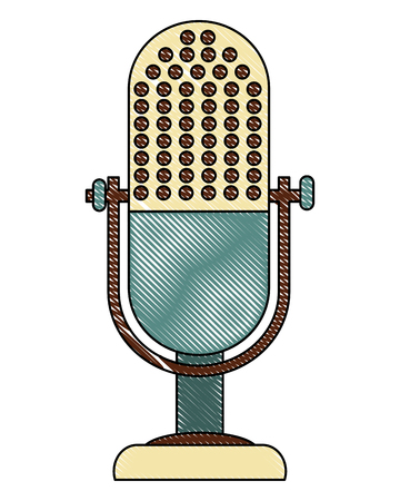 microphone music retro style vector illustration design Иллюстрация