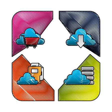 cloud computing set icons vector illustration design