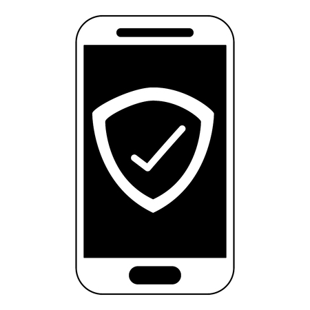 smartphone checkmark secuirty technology cartoon vector illustration black and white Banque d'images - 102110347