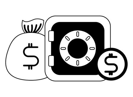 business safe box money dollar vector illustration black and white  イラスト・ベクター素材
