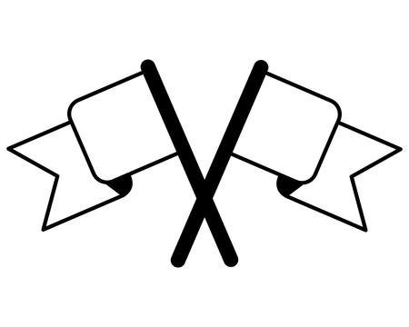 crossed flags winner symbol image vector illustration black and white