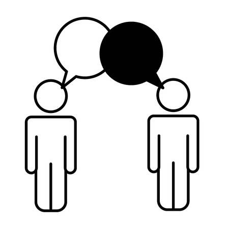 people talking communication speech bubble pictogram vector illustration black and white