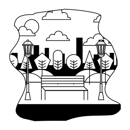 landscape park bench tree and lamp city vector illustration black and white