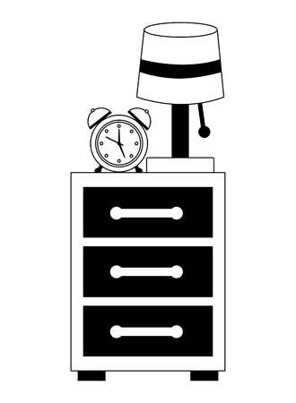 bedside table lamp clock alarm image vector illustration black and white Ilustração