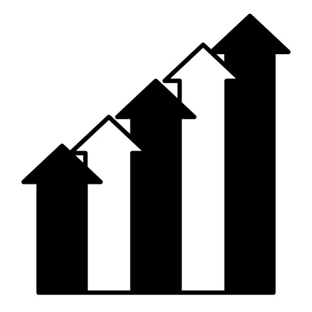 business up arrows graph image vector illustration black and white