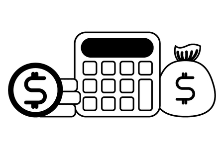 financial calculator bag money coins vector illustration black and white Illustration