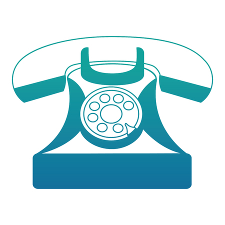 vintage telephone device communication retro vector illustration neon blue Illusztráció
