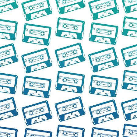 retro vintage cassette tape record pattern vector illustration