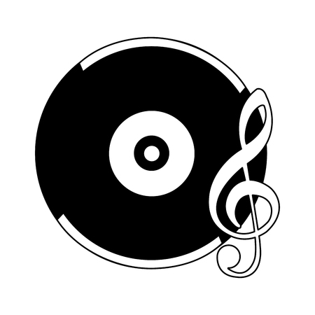 retro vintage vinyl note musical song vector illustration black and white
