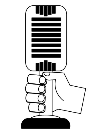 hand holding retro vintage microphone vector illustration black and white