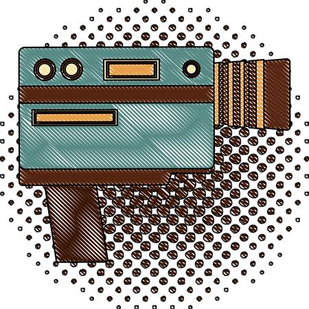 video camera device vintage image vector illustration  halftone drawing