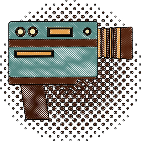 video camera device vintage image vector illustration  halftone drawing