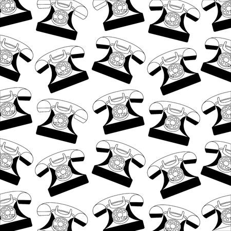 retro vintage telephone device pattern vector illustration