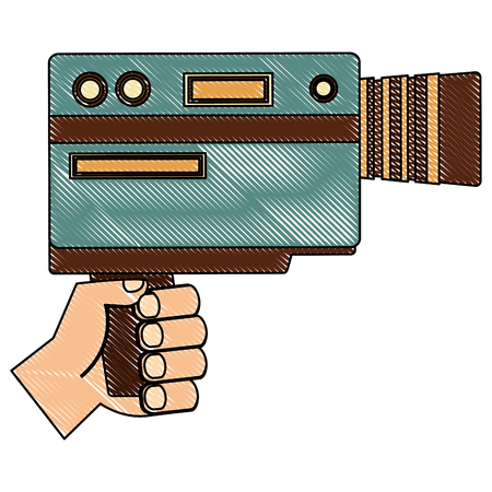 hand holding video camera device vintage vector illustration  drawing