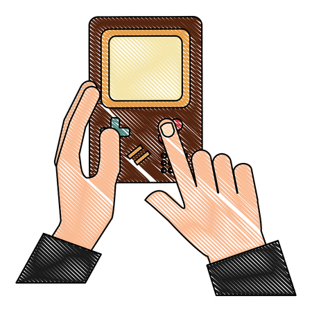 hand holding game console portable device vintage vector illustration  drawing