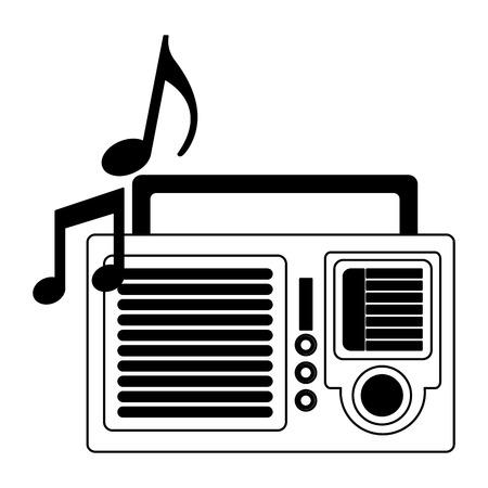 retro vintage radio stereo note music vector illustration black and white