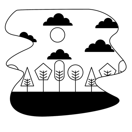 landscape tree forest sky scene cartoon vector illustration black and white