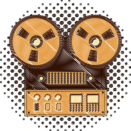 reel to reel tape recorder audio retro device vector illustration  halftone drawing