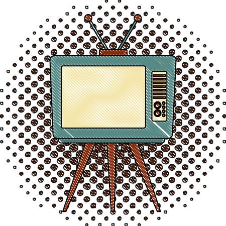 retro television vintage device tripod vector illustration  halftone drawing