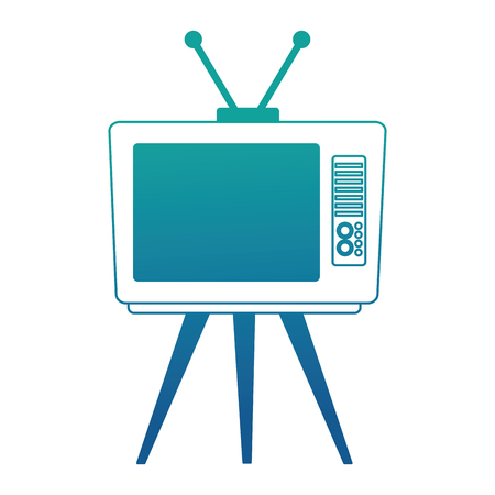 vintage retro television device on table vector illustration neon blue