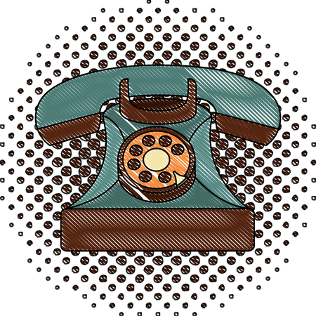 vintage telephone device communication retro vector illustration  halftone drawing Illusztráció