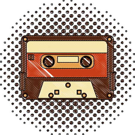 retro vintage cassette tape record music vector illustration  halftone drawing 向量圖像