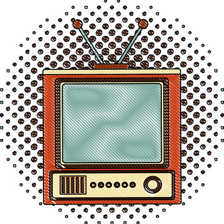 retro television vintage device image vector illustration  halftone drawing 일러스트