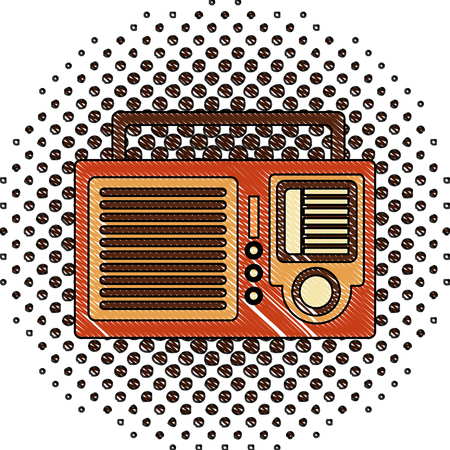 retro vintage radio sound voice image vector illustration  halftone drawing