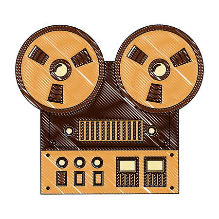 reel to reel tape recorder audio retro device vector illustration  drawing  イラスト・ベクター素材
