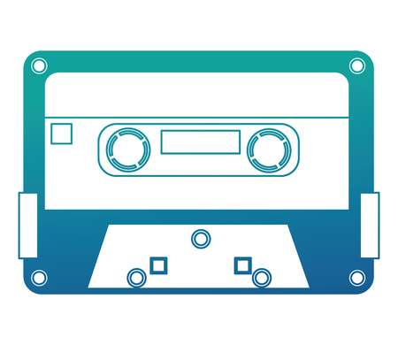 retro vintage cassette tape record music vector illustration neon blue