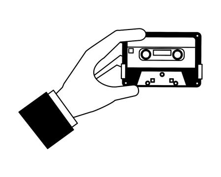 hand holding retro vintage cassette tape record vector illustration black and white