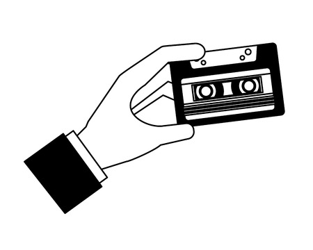 hand holding retro vintage cassette tape record vector illustration black and white