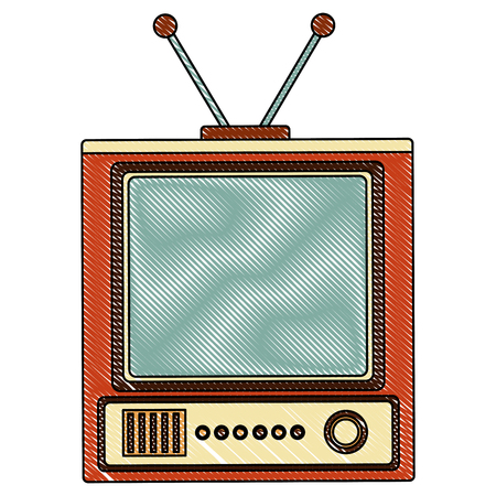 retro television vintage device image vector illustration  drawing